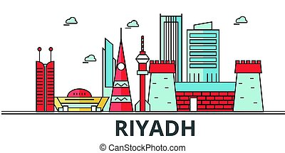 Riyadh city skyline. Buildings, streets, silhouette, architecture, landscape, panorama, landmarks. Editable strokes. Flat design line vector illustration concept. Isolated icons on white background