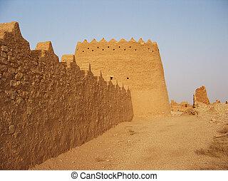 riyadh, diriyah, saudí, arcilla, arabia, fortaleza, er