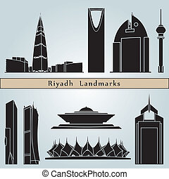 Riyadh landmarks and monuments isolated on blue background...