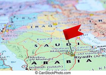 Riyadh pinned on a map of Asia - Photo of pinned Riyadh on a...