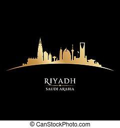 Riyadh Saudi Arabia city skyline silhouette black background
