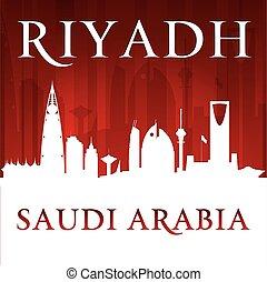 Riyadh Saudi Arabia city skyline silhouette red background