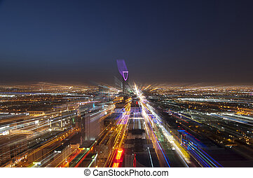 Riyadh skyline at night #6 showing Kingdom Tower, Fast Transition