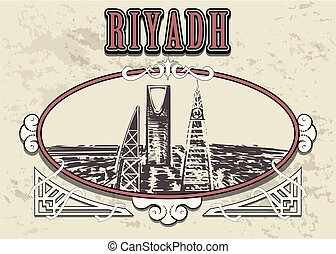 Riyadh skyline hand drawn. Riyadh sketch style vector illustration