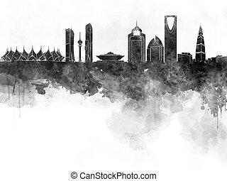 Riyadh skyline in black watercolour