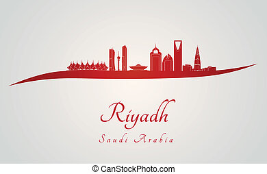 Riyadh skyline in red and gray background in editable vector...