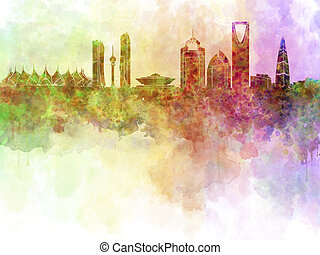 Riyadh skyline in watercolour background with clipping path