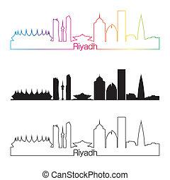 Riyadh skyline linear style with rainbow in editable vector...