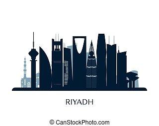 Riyadh skyline, monochrome silhouette.