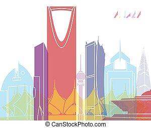 Riyadh skyline pop in editable vector file