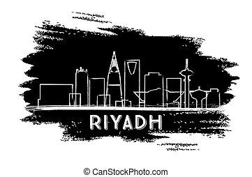 Riyadh Skyline Silhouette. Hand Drawn Sketch.