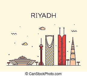 Riyadh skyline trendy vector illustration linear - Riyadh...