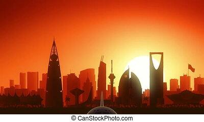 riyadh, vliegtuig, opstijgen, skyline, gouden achtergrond