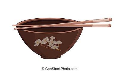 riz, bol, japonaise, baguettes
