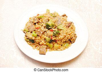 riz, brocoli, boeuf, &