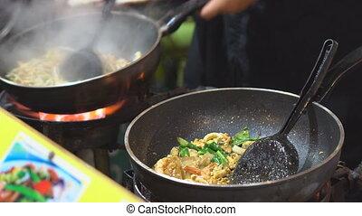 riz, cuisine, crevette, chef cuistot, tampon, frit, thaï, nouilles
