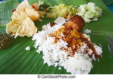 riz, feuille, banane