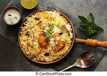 riz, fish, fait, biryani, basmati