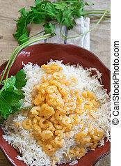 riz, frit, basmati, crevettes