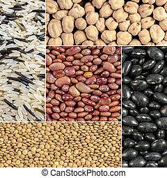 riz, haricots, pois chiches, lentilles