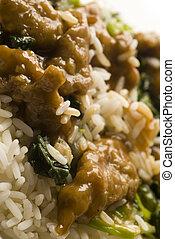 riz, mongol, boeuf