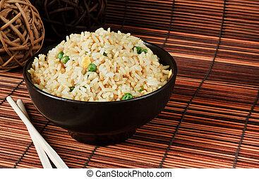 riz, oeuf, frit