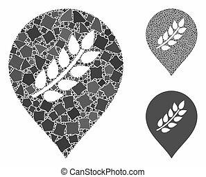 riz, plantation, composition, morceaux, marqueur, icône, ...