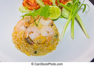 riz, poulet, frit, crevettes