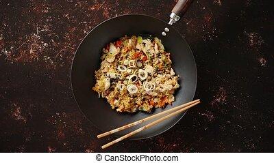 riz, poulet, frit, délicieux, wok