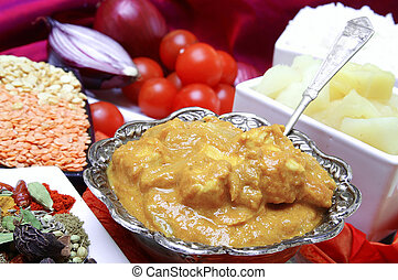 riz, poulet, korma, pilau, blanc
