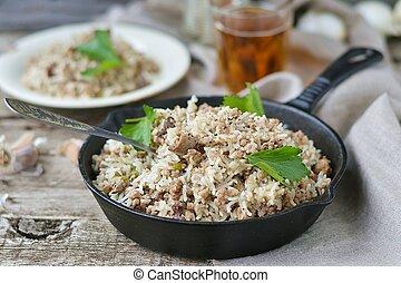 riz, sale, boeuf, terrestre