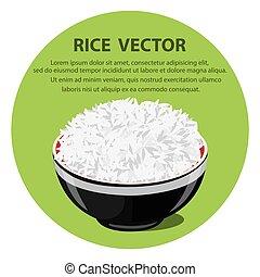 riz, vecteur, bol, illustration