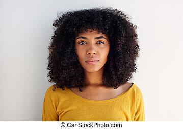 rizado, arriba, pelo, norteamericano, bastante, africano, cierre, retrato, niña