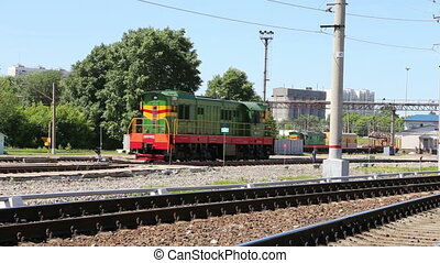 Rizhsky Railway Station in Moscow - Trains and passengers at...