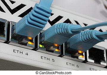 rj45, lan, collegato, switch., cavo