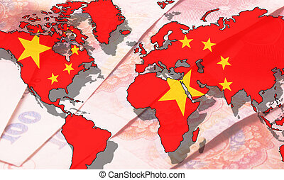 chinese flag over world map over RMB bills