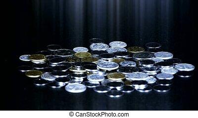 rmb, monnaie, pièces, groupe, automne