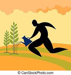 roślina, łzawienie, sylwetka, człowiek