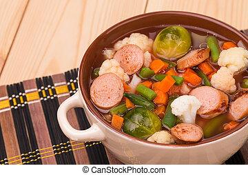 roślina, świeży, zupa, sausage.