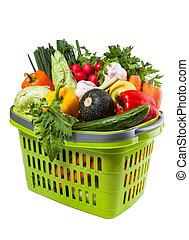 roślina, artykuły spożywcze, shopping kosz