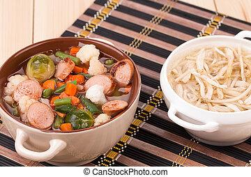 roślina, chicken., kiełbasa, świeży, zupa