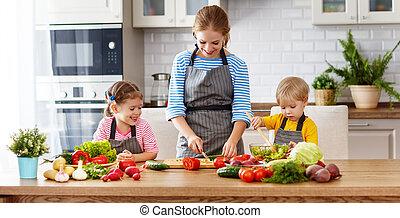 roślina, dzieci, przygotowując, sałata, macierz