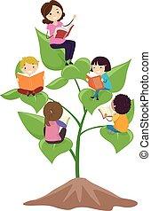 roślina, dzieciaki, stickman, nauczyciel, lekcja, klasa