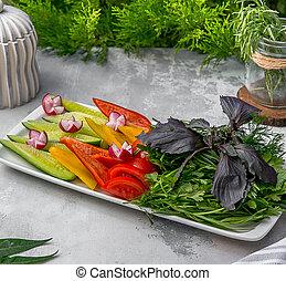 roślina, sałata, stół, świeży