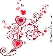 roślina, serce, kontur, stylizowany, czerwony, modeluje