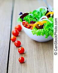 roślina, stół, organiczny, sałata, świeży