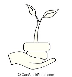 roślina, szkic, ręka
