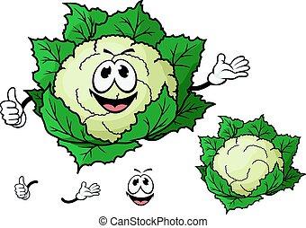roślina, uśmiechanie się, rysunek, kalafior, szczęśliwy
