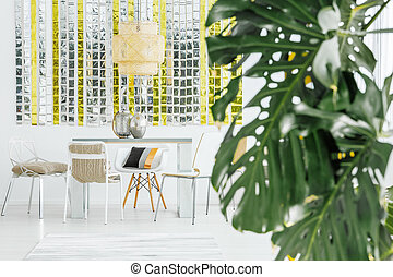 roślina, w, jadalna sala