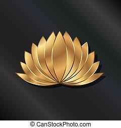 roślina, złoty, lotos, luksus, logo, pokryty obficie liśćmi